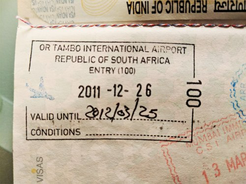 South Africa Entry Stamp